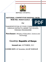 Tender for Transportation of Food Stuffs