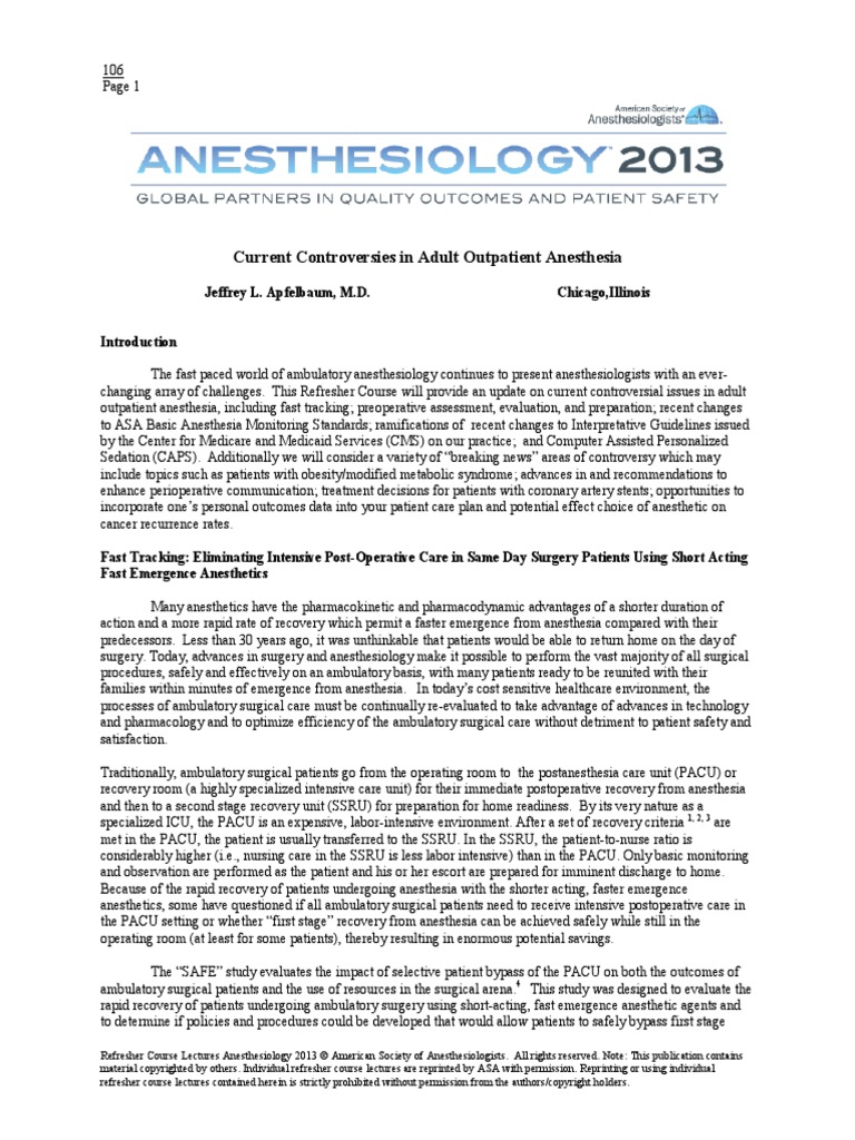 asa refresher courses in anesthesiology 2010