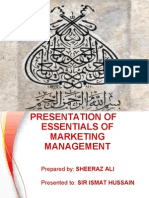 Presentation of Essentials of Marketing Management
