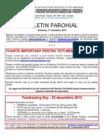 Buletin Parohial 17 Noiembrie