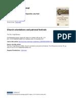 Hugh Benson, Church Orientations and Patronal Festivals