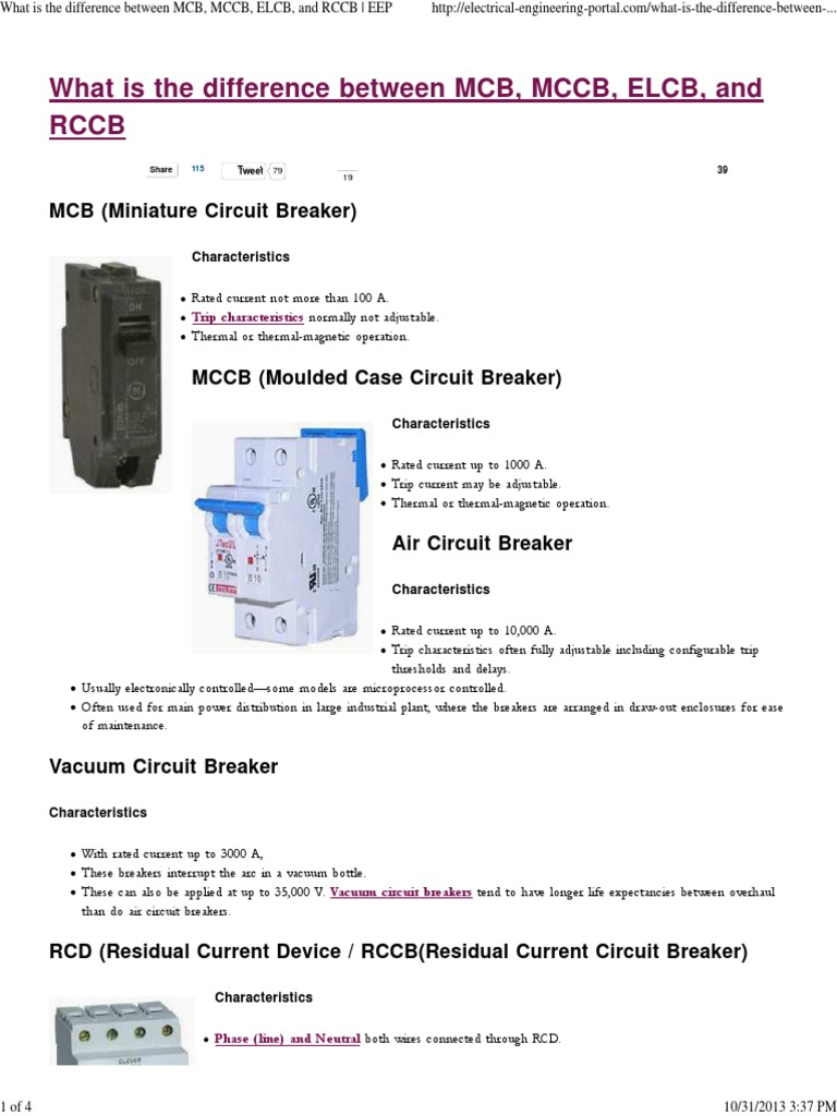 What is the Difference Between MCB, MCCB, ELCB, And RCCB _ EEP ...