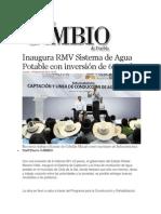 14-11-2013 Diario Matutino Cambio de Puebla - Inaugura RMV Sistema de Agua Potable con inversión de 6.8 mdp
