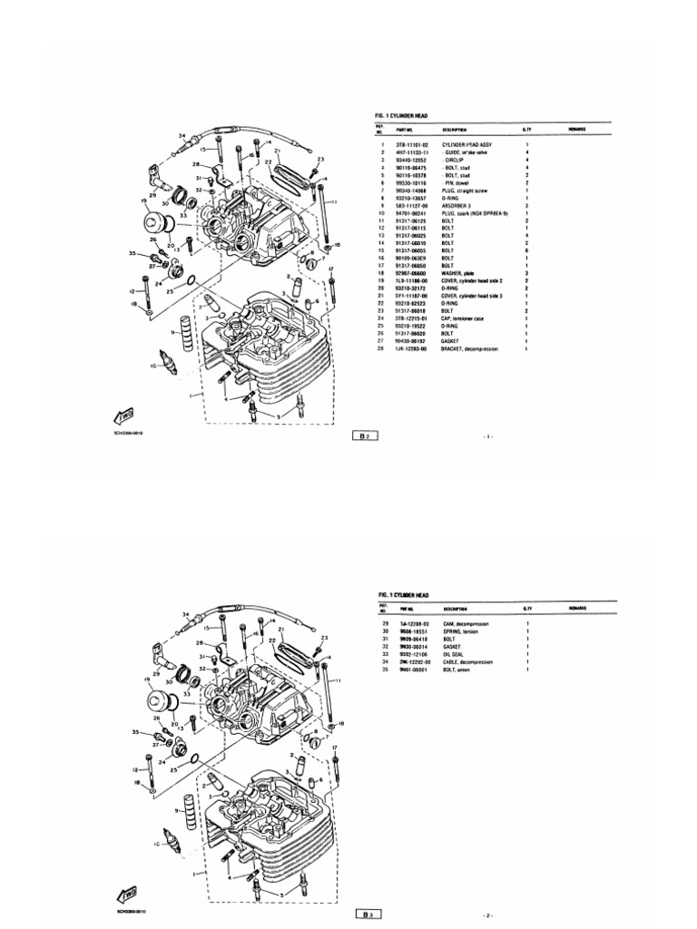 Yamaha TT600R exploded assembly drawings