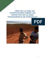 Informe de la gira de verificación sobre los impactos de la soja transgénica en Paraguay.