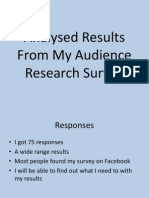 Analysed Results From My Audience Research Survey
