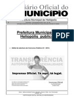 Concurso Público da Prefeitura Municipal de Heliópolis – Edital de Abertura