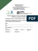 Ficha de inscrição Minicurso