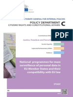 NATIONAL PROGRAMMES FOR MASS SURVEILLANCE OF PERSONAL DATA IN EU MEMBER STATES AND THEIR COMPATIBILITY WITH EU LAW