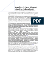 Pekerja Anak Bawah Umur Menurut Hukum Islam Dan Hukum Positif