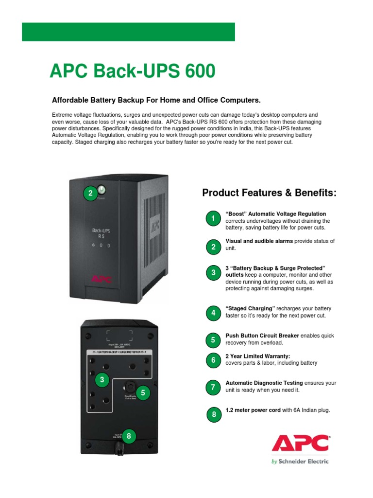 APC UPS-600 UPS | Battery (Electricity) | Mains Electricity