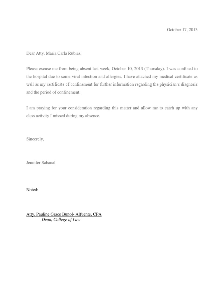 Excuse Letter For Being Absent from imgv2-2-f.scribdassets.com