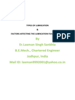 Types of Lubrication & Factors Affecting Lubrication Film