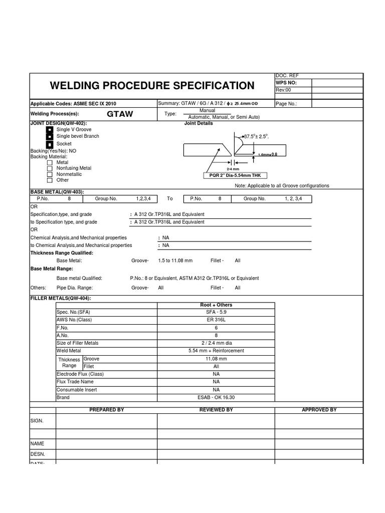 Wps gtaw stainless steel welding mechanical engineering buycottarizona