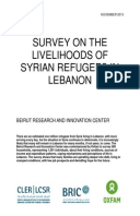 Survey on the livelihoods of Syrian refugees in Lebanon