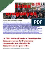 Noticias Uruguayas sábado 16 de noviembre del 2013
