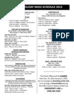 Holiday Mass Schedule 2013