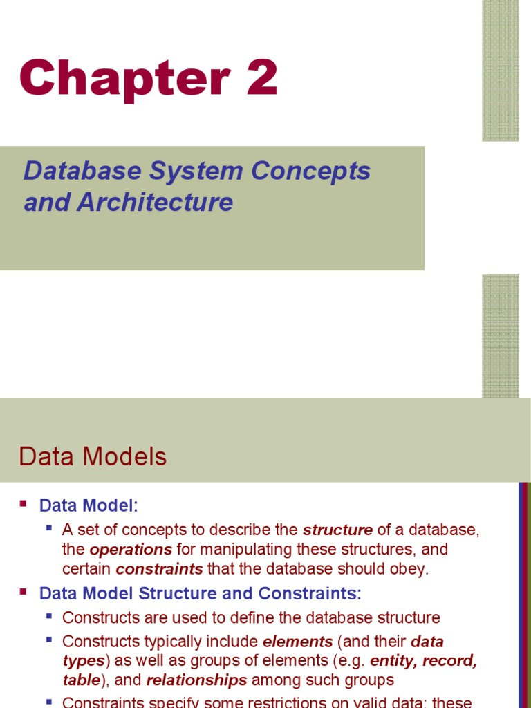 database system concepts and architecture  data model