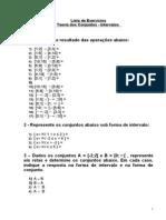 Lista de Exercicio de Teoria de Conjuntos - Intervalos