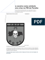 Retirada da caveira como símbolo do Bope gera crise na PM da Paraíba