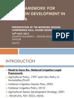 Legal Framework for Irrigation Development in Tanzania