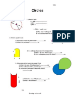 Circles Area and Circumference Worksheet
