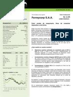 Ferreycorp - Actualización - VF @ PEN 2.35 - Sobreponderar +