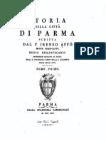 Storia della città di Parma scritta dal P. Irenio Affò; tomo PRIMO, 1742