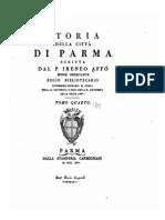 Storia della città di Parma scritta dal P. Irenio Affò; tomo QUARTO, 1745