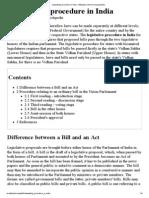 Lawmaking Procedure in India