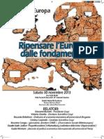 """Convegno """"Ripensare l'Europa dalle fondamenta"""" - 30 novembre 2013 a Sesto San Giovanni - Via Puricelli Guerra 24"""