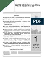 Prova Química Universidade de Londrina 2001