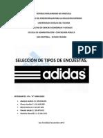 SELECCIÓN DE TIPOS DE ENCUESTA, ADIDAS.