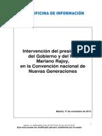 Mariano Rajoy en la Convención de Nuevas Generaciones.