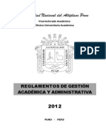 Reglamentos Academicos 2012 Una Puno