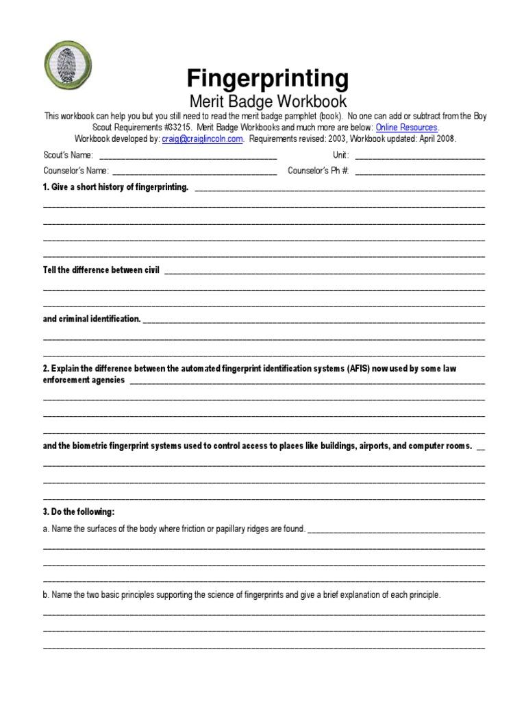 Fingerprinting Merit Badge Worksheet Kidz Activities