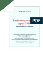 Marcel Mauss (1933), La Sociologie en France Depuis 1914