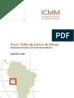 Informe ICMM Taller de Cierre de Minas Arequipa 2009