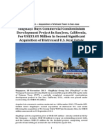 SGX-Listed SingHaiyi Group Ltd. Buys Commercial Condominium Development Project In San Jose, California, For US$33.05 Million In Second Significant Acquisition of Distressed U.S. Real Estate