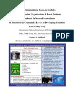 Health Interventions for Pandamic Influenza Preparedness
