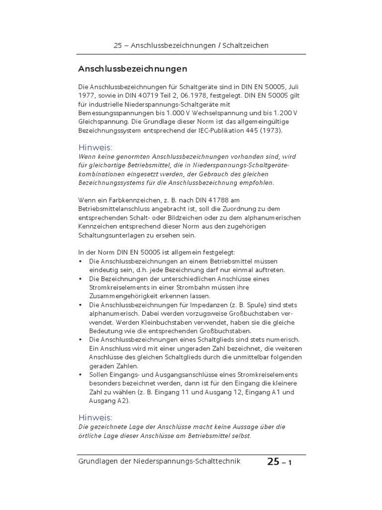 Kap 25 Anschlussbezeichnungen Schaltzeichen V24 END V2