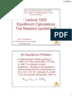 lecture 1503 -- equilibrium calculations