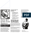Hate Bill Ends Free Speech Flyer