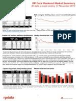 RP Data Weekend Market Summary Week Ending 2013 November 17