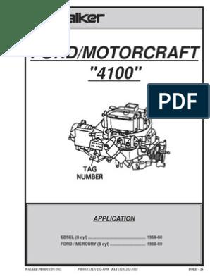 1971 73 CARBURETOR KIT FORD//MERCURY 1250 MODEL MOTORCRAFT 4 CYLINDER MOTORS