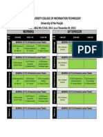 Pucit Time Table Mphil and Phd Fall 2013