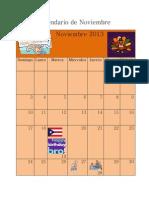 Calendario de Noviembre, Diciembre y Enero