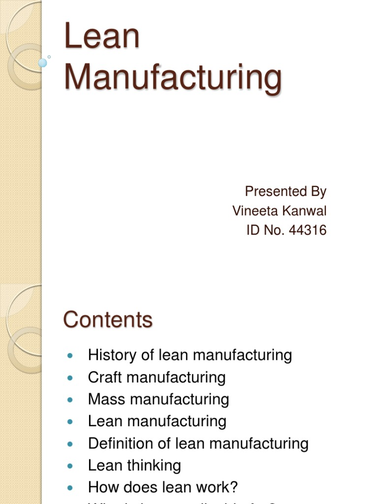 lean manufacturing | lean manufacturing | production and manufacturing