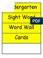 Kindergarten Sight Word High Frequency Word Wall Cards