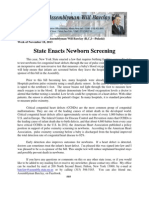 State Enacts Newborn Screening